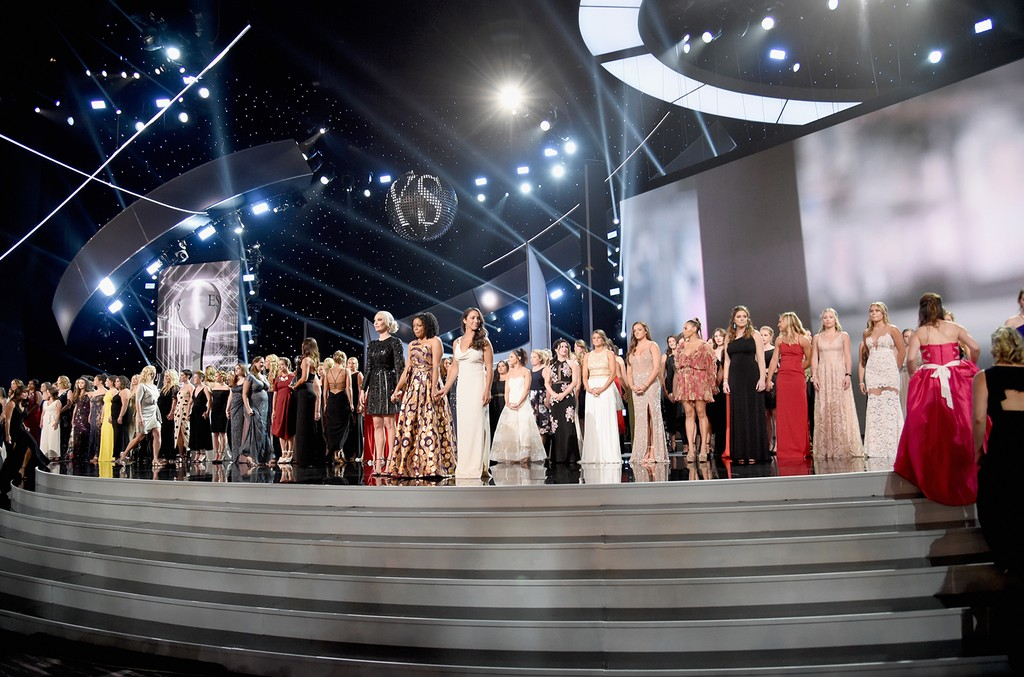 Recipients of the Arthur Ashe Award for Courage speak onstage at The 2018 ESPYS at Microsoft Theater on July 18, 2018 in Los Angeles.