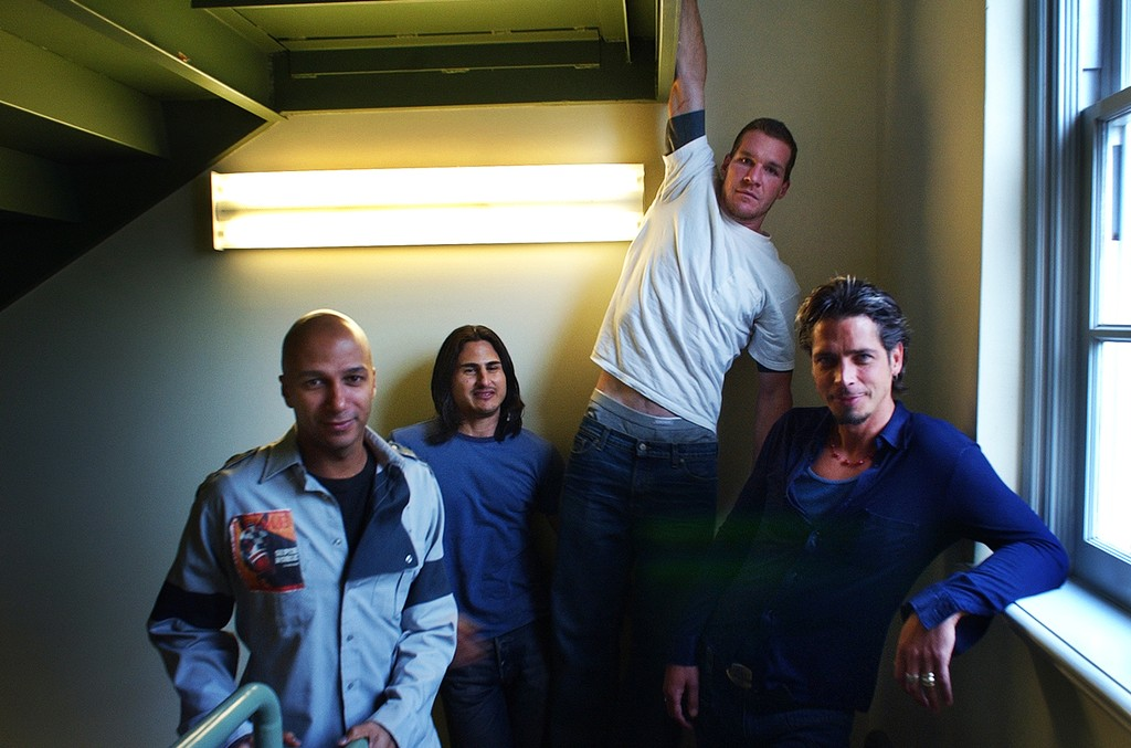 Tom Morello, Brad Wilk, Tim Commerford, and Chris Cornell. Audioslave is a new band formed by three ex members of Rage Against the Machine (Morello, Wilk and Commerford), and Cornell from Soundgarden.