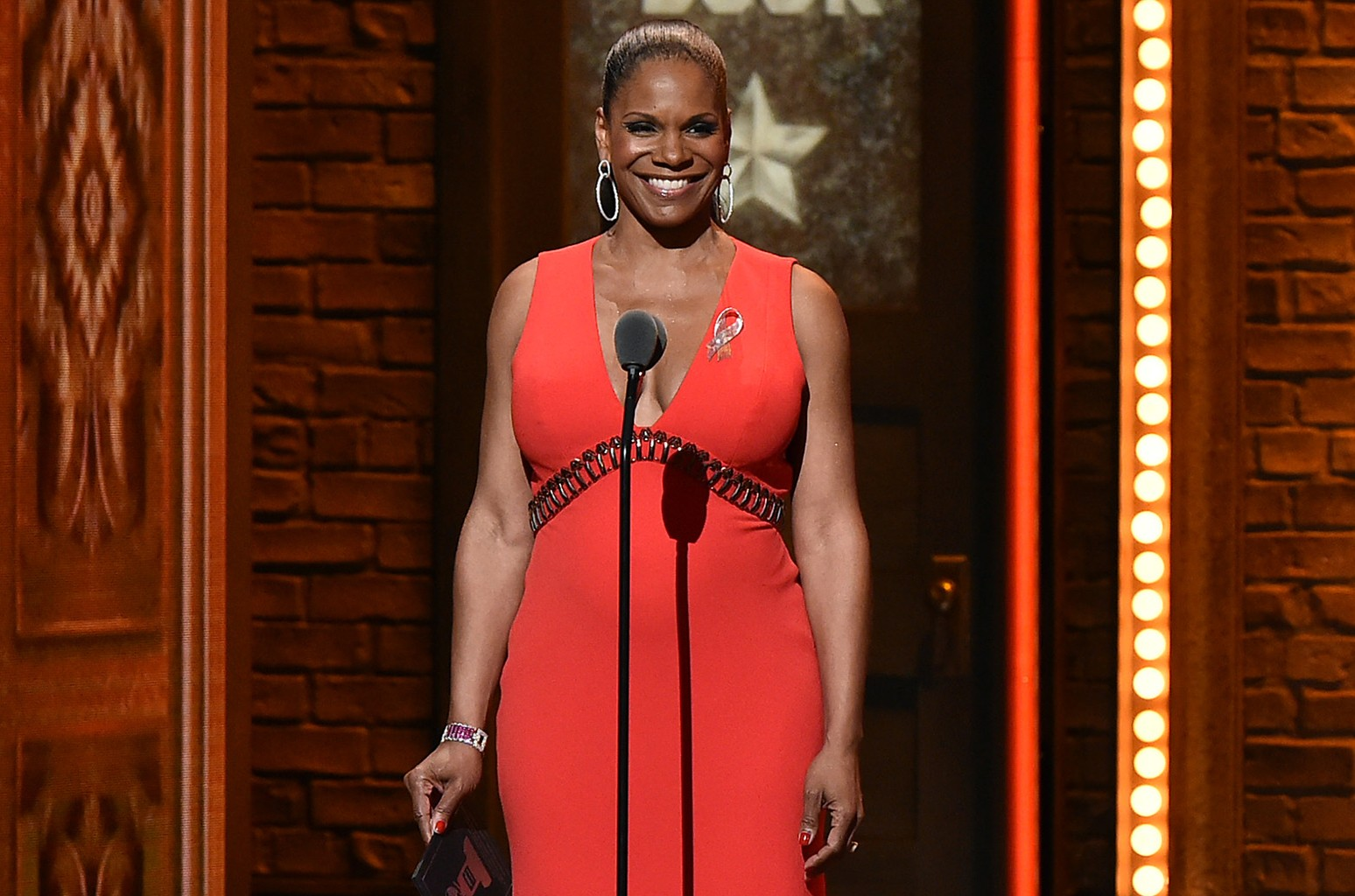 Audra McDonald speaks during the 70th Annual Tony Awards