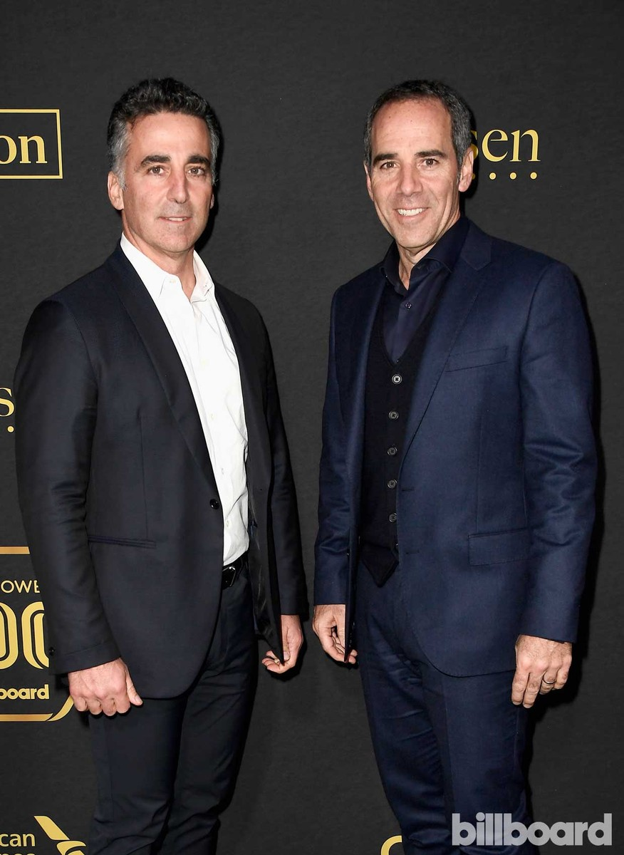 President/COO of Republic Records, Avery Lipman (L) and CEO/Chairman of Republic Records, Monte Lipman attend Billboard Power 100 - Red Carpet at Cecconi's on Feb. 9, 2017 in West Hollywood, Calif.