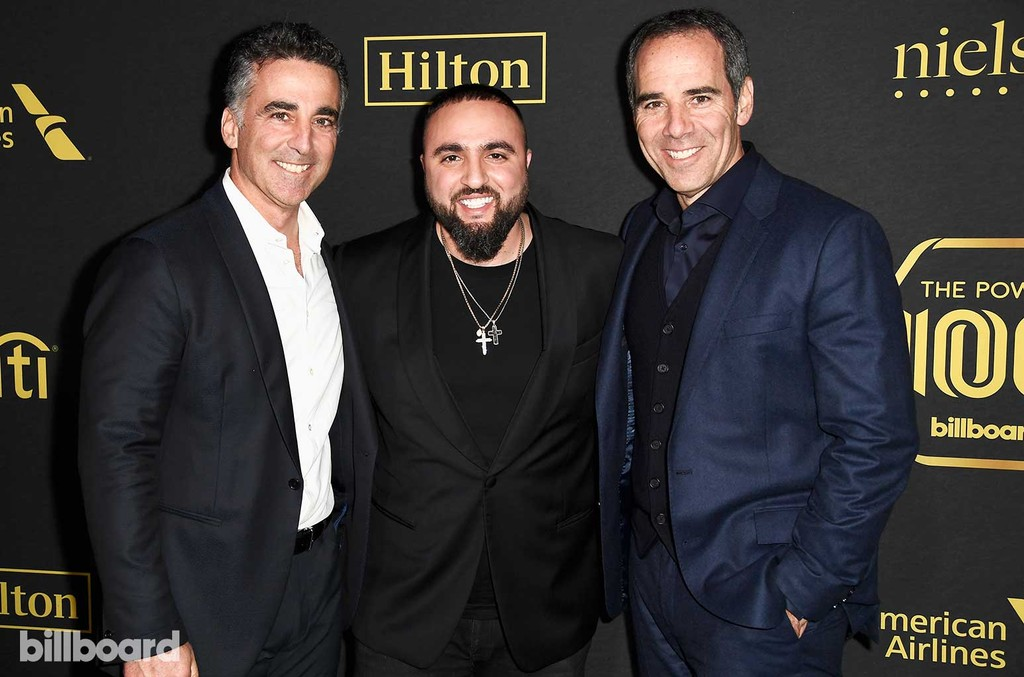 President/COO of Republic Records, Avery Lipman, Tony Sal and CEO/Chairman of Republic Records, Monte Lipman attend Billboard Power 100 - Red Carpet at Cecconi's on Feb. 9, 2017 in West Hollywood, Calif.