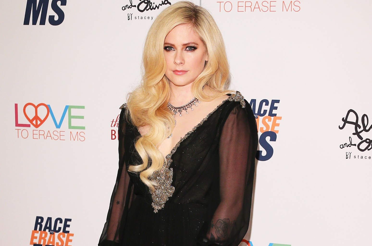 Avril Lavigne attends the 25th Annual Race To Erase MS Gala at The Beverly Hilton Hotel on April 20, 2018 in Beverly Hills, Calif.