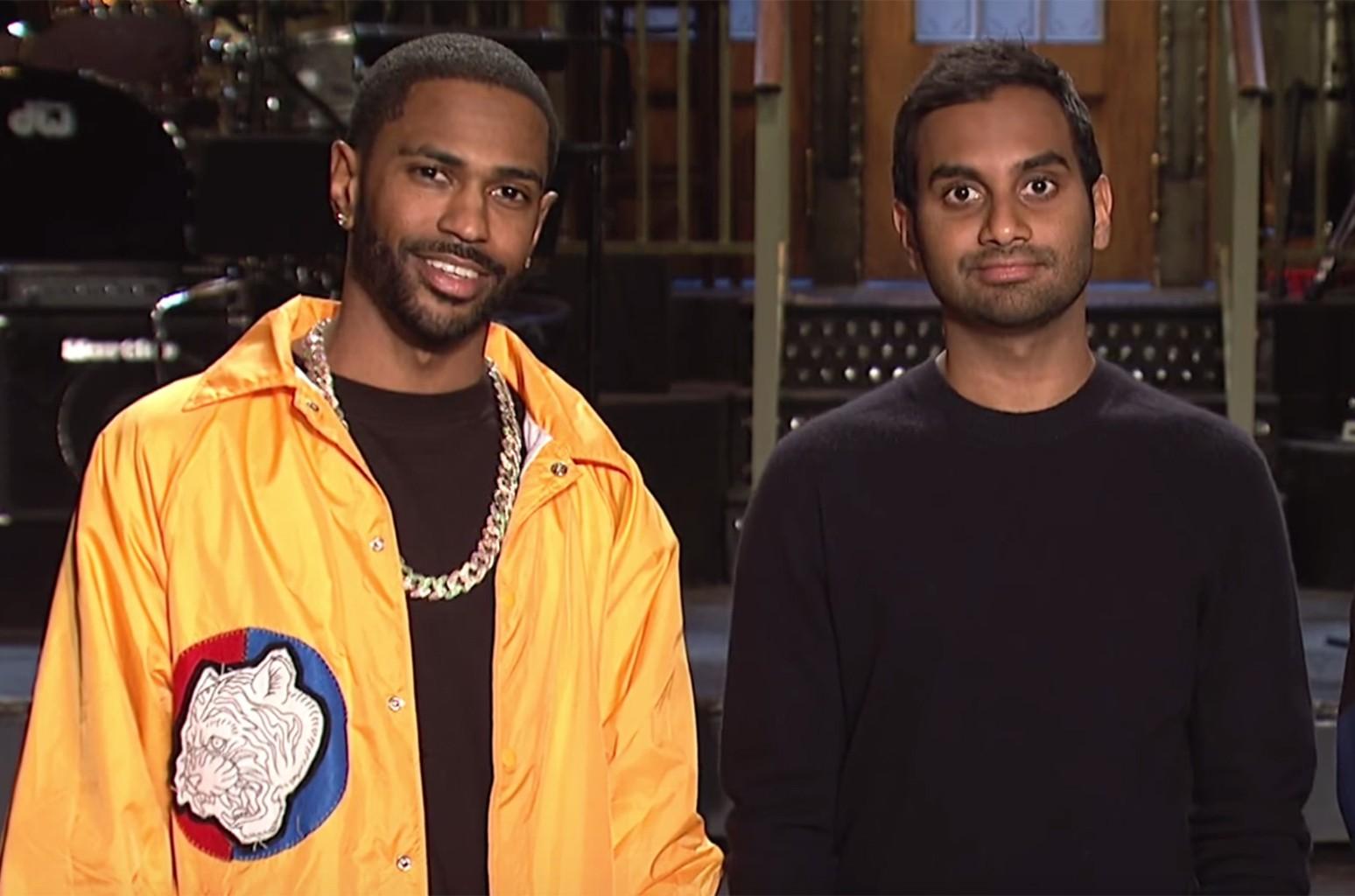 Big Sean and Aziz Ansari in a promo for Saturday Night Live.