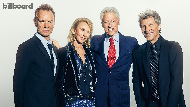 Sting, Trudie Styler, Bill Clinton & Bon Jovi