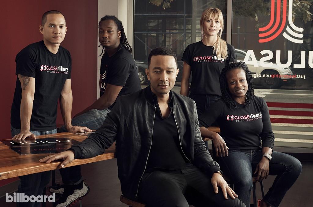 John Legend and JustLeadershipUSA staffers (from left) Khalil Cumberbatch, Nellis Dorlisme, Erin George & Valrie Fowler