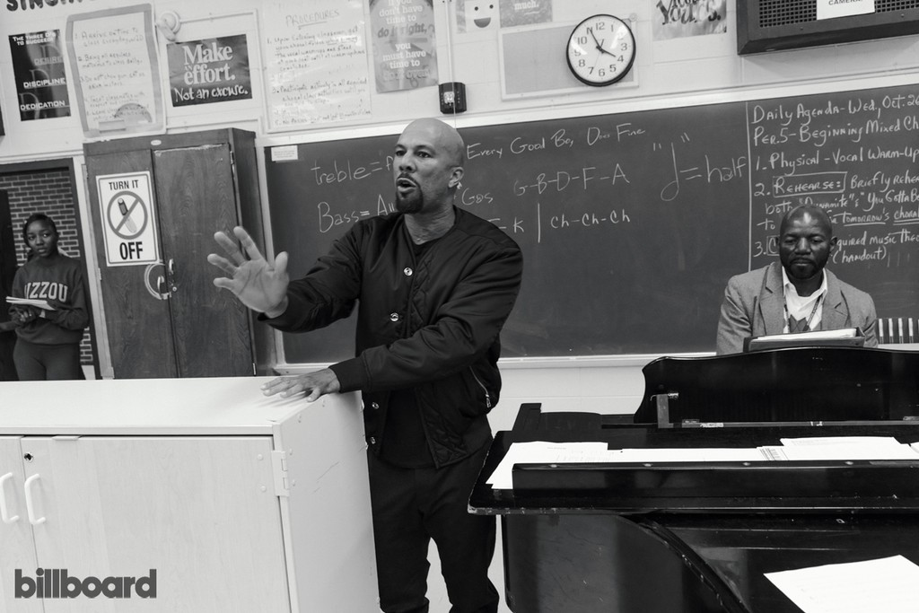 Common with choral director Richard Nunley at Kenwood Academy High School in Chicago