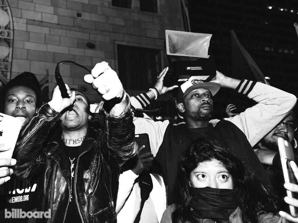 Vic Mensa speaks to the crowd at a rally on the second anniversary of Laquan McDonald's shooting, in Millennium Park on Oct. 22.