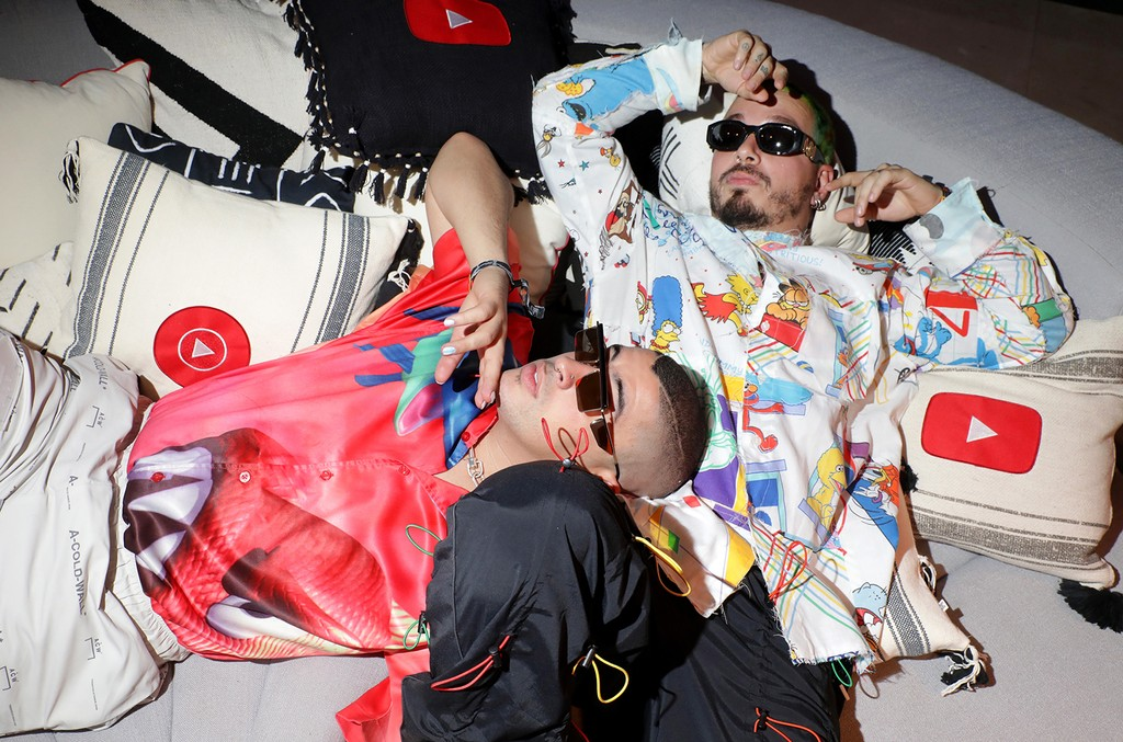 Bad Bunny and J Balvin are seen at the YouTube Music Artist Lounge at Coachella 2019 on April 14, 2019 in Indio, Calif.