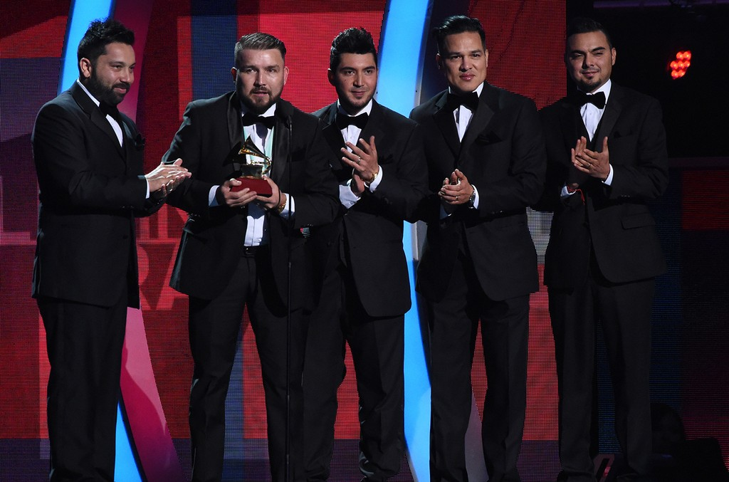 Banda El Recodo accepts the award for Best Banda Album  during the show of the 17th Annual Latin Grammy Awards on Nov. 17, 2016, in Las Vegas.