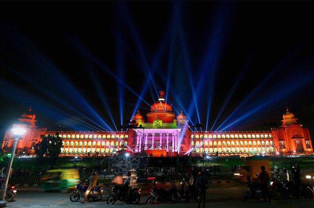 A general view shows the the Vidhana Soudha in Bangalore, India on Oct. 14, 2017.