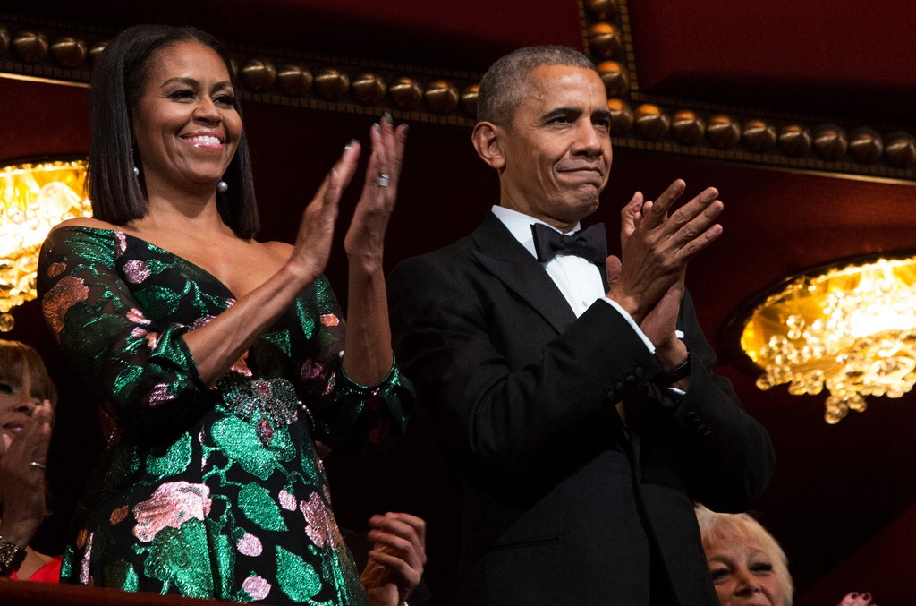 President Barack Obama and first lady Michelle Obama attend the Kennedy Center Honors show Dec. 4, 2016 at the Kennedy Center in Washington, DC.