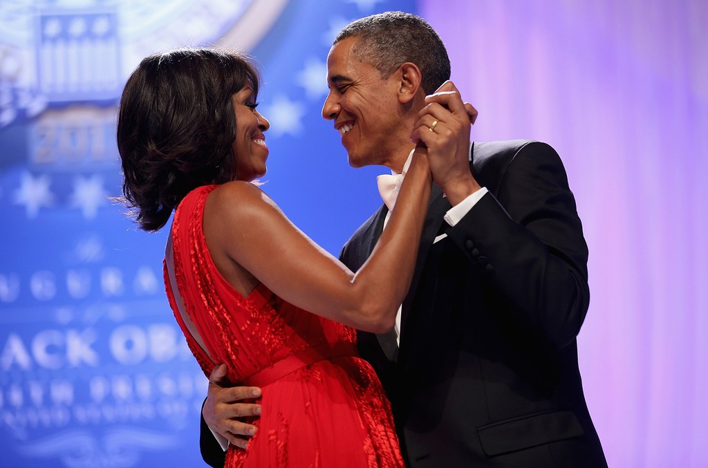 U.S. President Barack Obama and first lady Michelle Obama dance together during the Comander-in-Chief's Inaugural Ball at the Walter Washington Convention Center on Jan. 21, 2013 in Washington, DC.