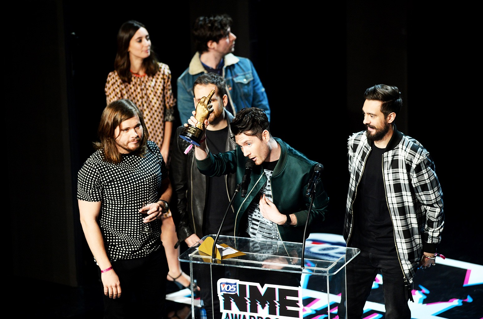 Bastille collect the award for Best Album during the VO5 NME Awards 2017 held at the O2 Brixton Academy, London.