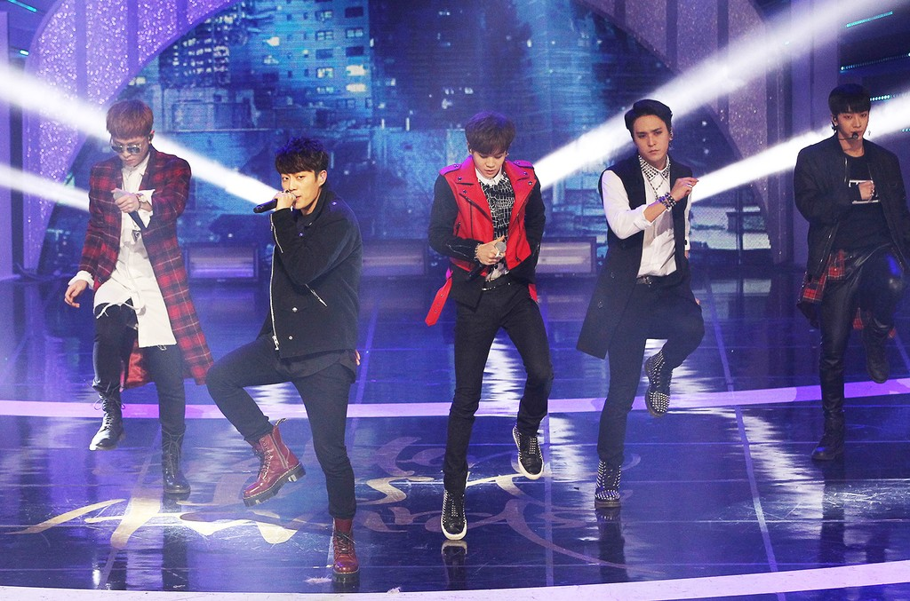B2ST perform onstage during the 28th Golden Disk Awards at Kyunghee Grand Peace Palace on Jan. 16, 2014 in Seoul, South Korea.
