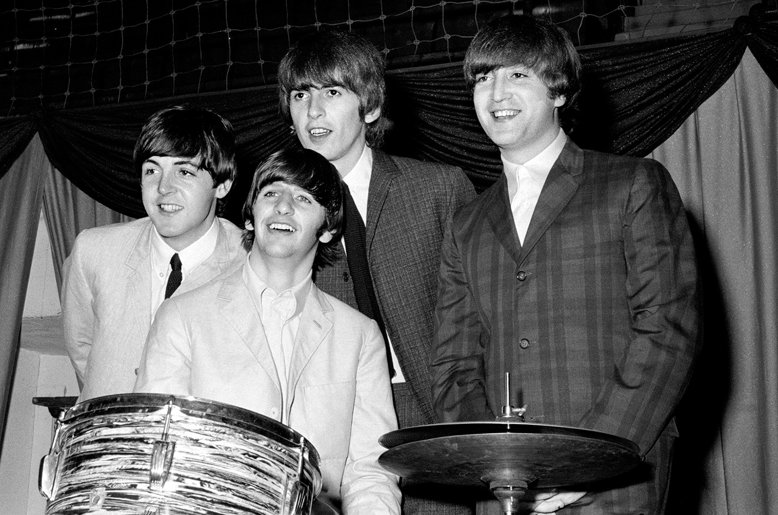 The Beatles photographed at a press conference at Maple Leaf Center in Toronto, Canada on Sept. 7, 1964.