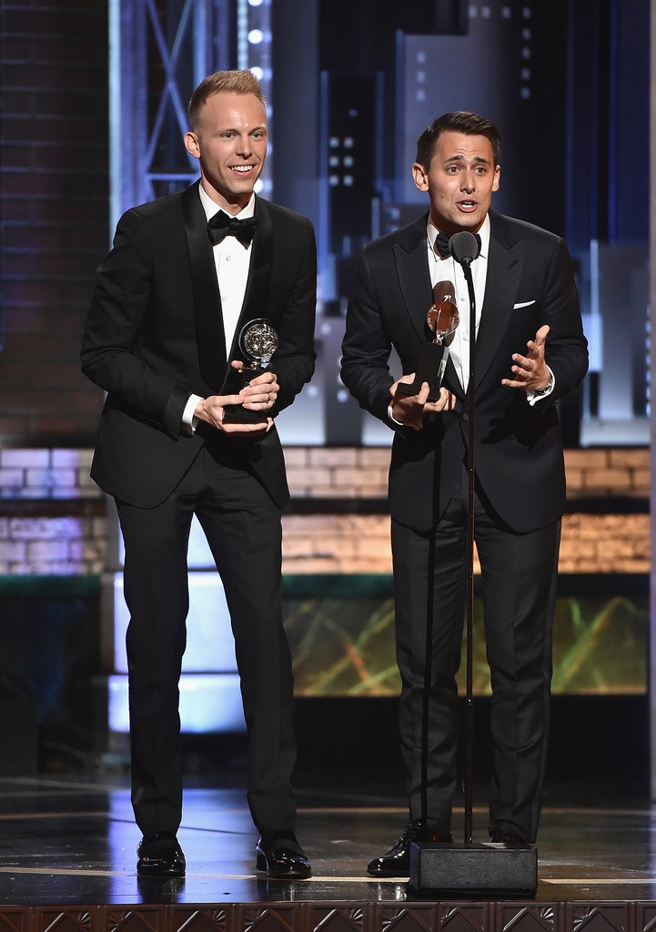 Benj Pasek and Justin Paul accept the award for Best Original Score Written for the Theatre for ?Dear Evan Hansen? onstage during the 2017 Tony Awards at Radio City Music Hall on June 11, 2017 in New York City.