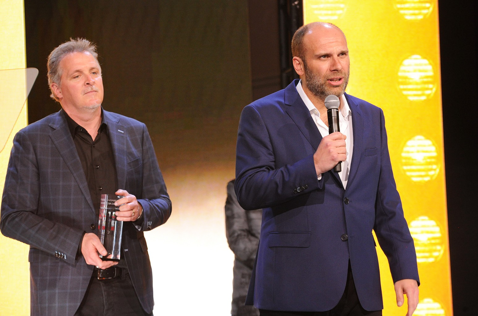 The Tragically Hip managers Bernie Breen and Patrick Sambrook accept the manager of the year award at the Live  Music Industry Awards as part of Canadian Music Week on April 19, 2017.
