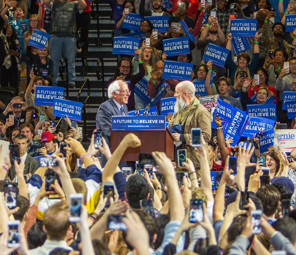 Senator Bernie Sanders and Michael Stipe