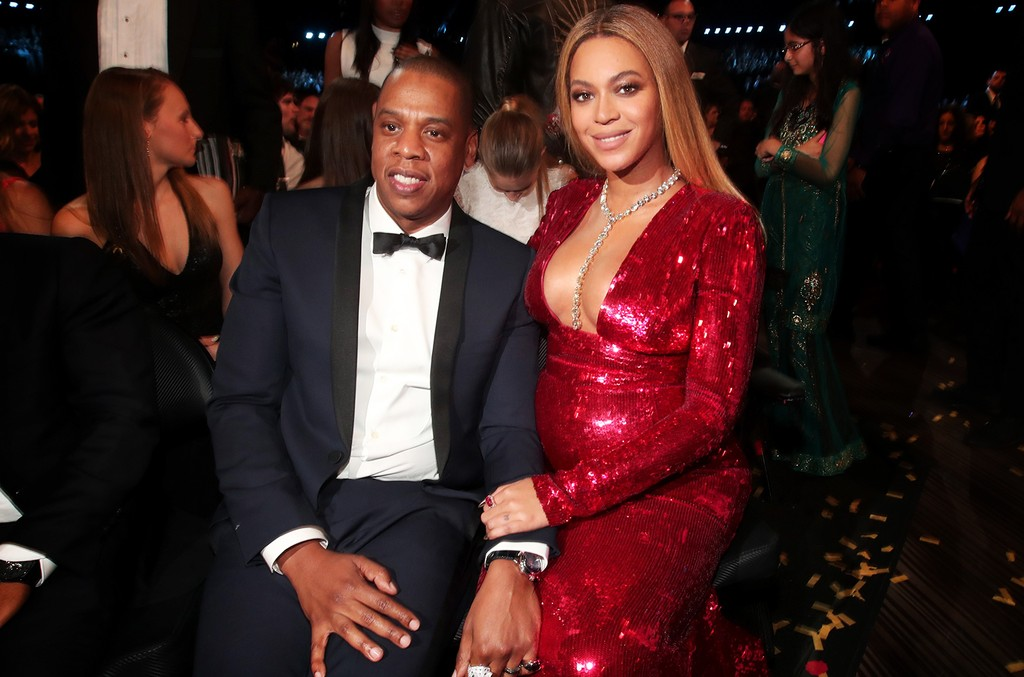 Jay-Z and singer Beyonce during The 59th Grammy Awards at Staples Center on Feb. 12, 2017 in Los Angeles.