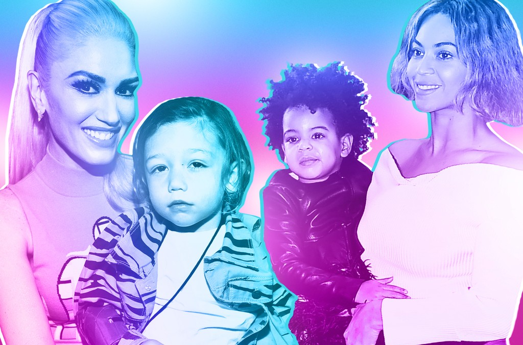 Gwen Stefani with son Apollo Rossdale (left); Beyonce with daughter Blue Ivy Carter (right)