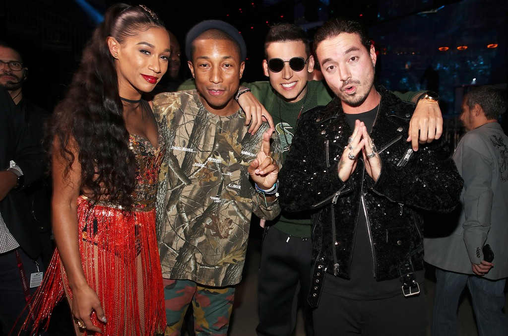 Bia, Pharrell Williams, Sky and J Balvin pose backstage at The 17th Annual Latin Grammy Awards at T-Mobile Arena on Nov. 17, 2016 in Las Vegas.
