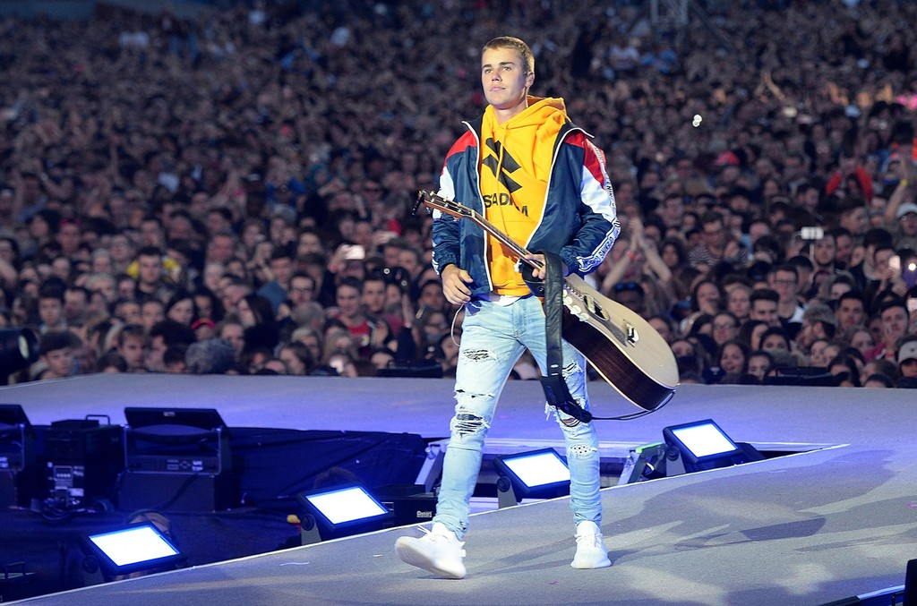 Justin Bieber performs on stage during the One Love Manchester Benefit Concert at Old Trafford Cricket Ground on June 4, 2017 in Manchester, England.