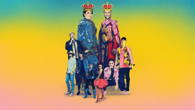 Clockwise from top left: Borchetta, Braun, Justin  Bieber, Demi Lovato, Ariana Grande, Reba McEntire,  Florida Georgia Line and  Gary LeVox of Rascal Flatts.