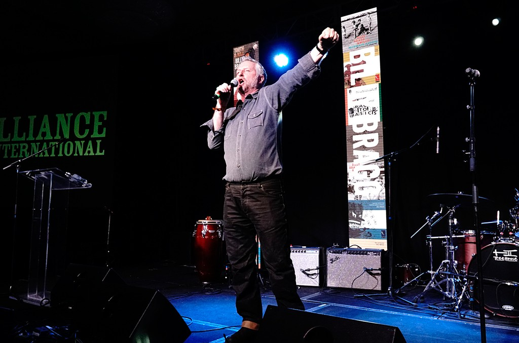 Billy Bragg delivering the keynote speech at the Folk Alliance International conference in Kansas City, Mo. on Feb. 18, 2017.