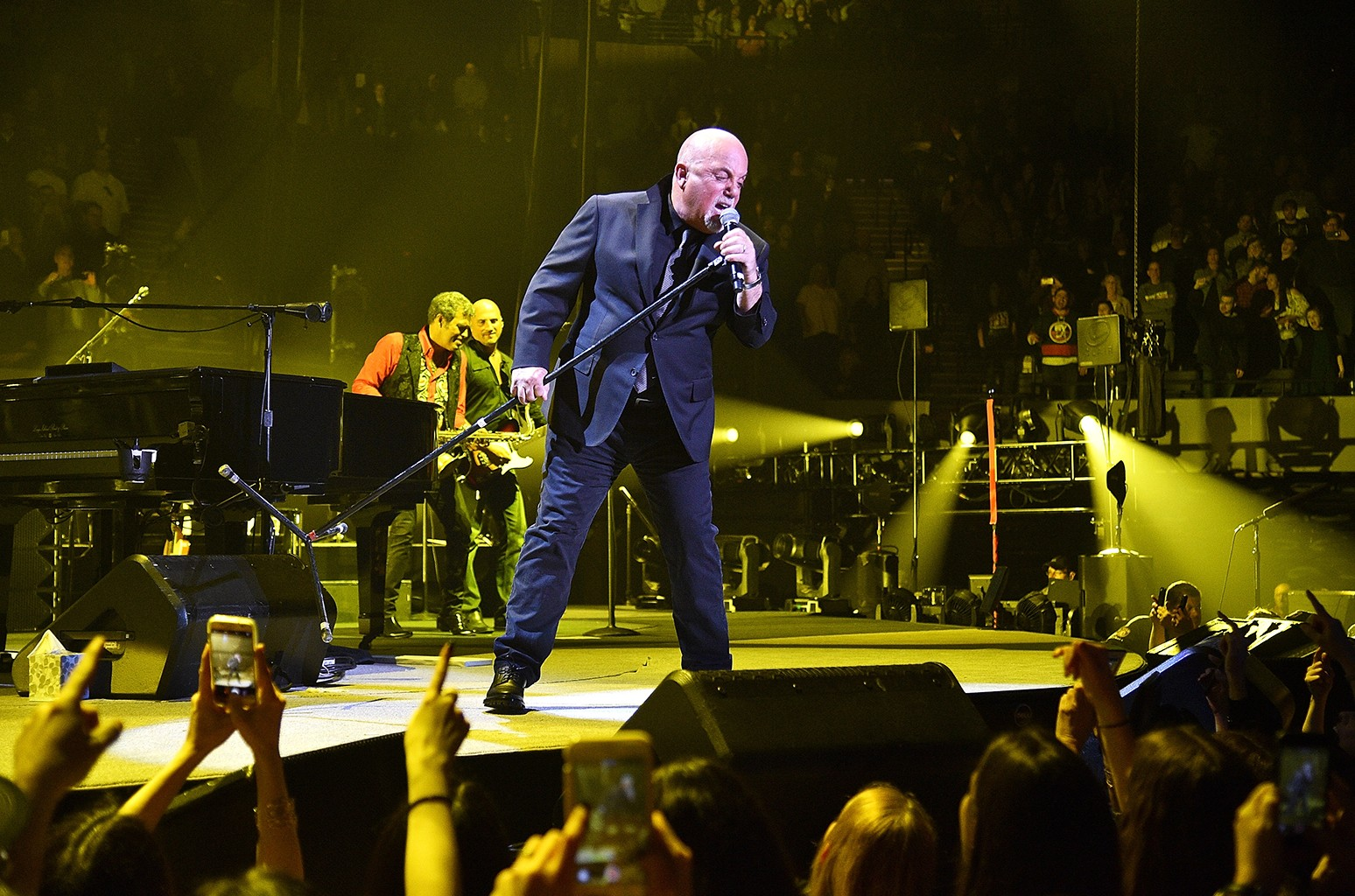 Billy Joel performs at the newly renovated Nassau Coliseum, Long Island on April 5, 2017 in New York City.