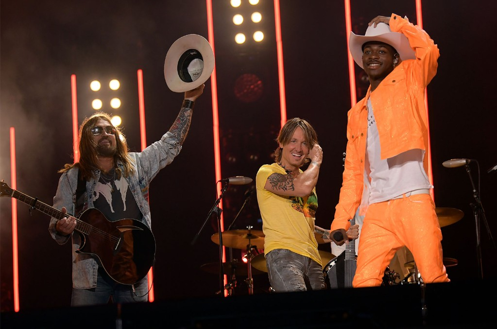 Billy Ray Cyrus, Keith Urban and Lil Nas X perform onstage during day 3 of the 2019 CMA Music Festival on June 8, 2019 in Nashville.