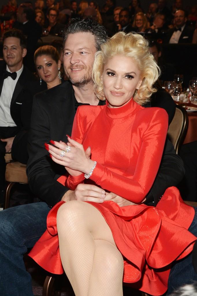 Blake Shelton and Gwen Stefani at the Clive Davis Pre-Grammy Gala
