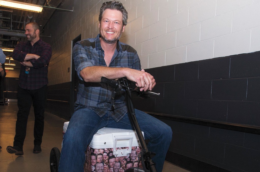 Shelton on his motorized beer cooler
