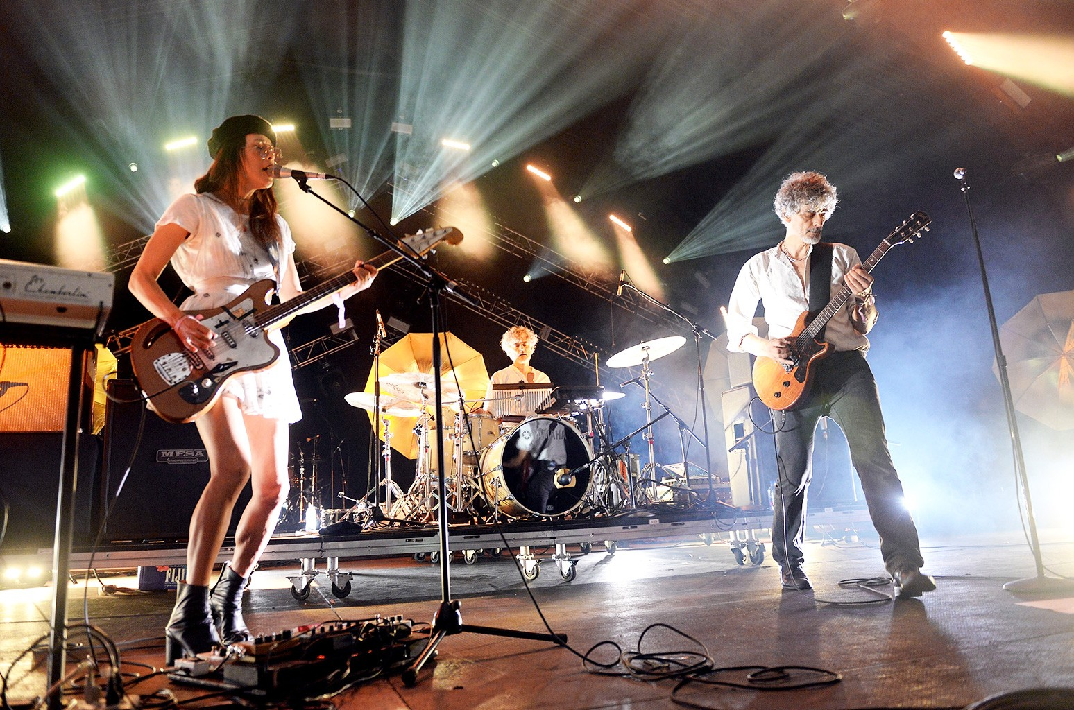 Blonde Redhead perform onstage during FYF Fest on July 23, 2017 in Los Angeles.