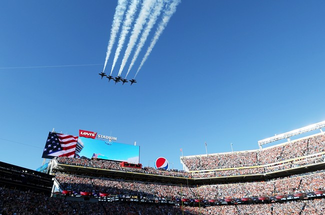 Blue Angels perform a fly-over prior to Super Bowl 50