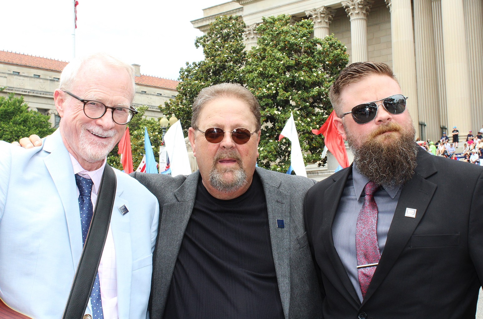 peration Song co-founder Bob Regan (left) performed with veterans Jimmy Sells (center) and Ian Wagner at the start of the 2016 Memorial Day Parade in front of the Library of Congress in Washington, D.C.