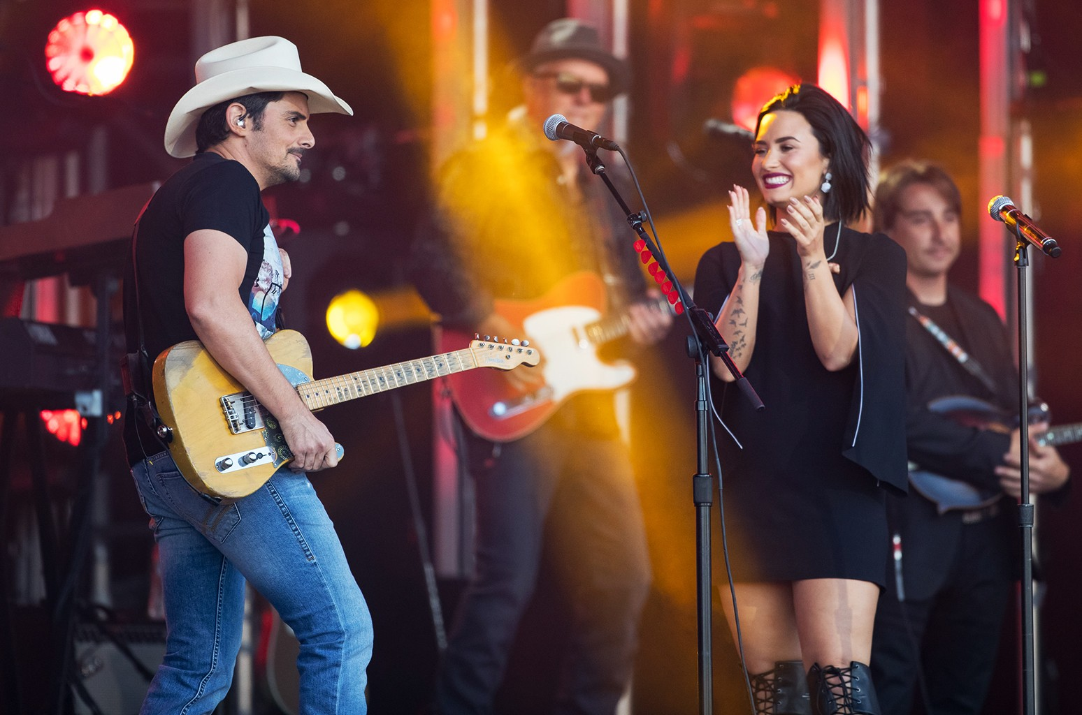 Brad Paisley and Demi Lovato are seen at Jimmy Kimmel Live in Los Angeles.