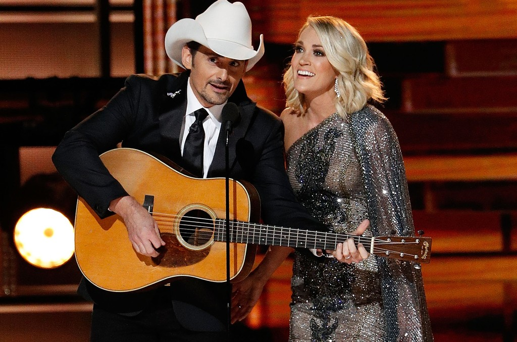 Brad Paisley and Carrie Underwood appear onstage during the 50th annual CMA Awards at the Bridgestone Arena on Nov. 2, 2016 in Nashville, Tenn.