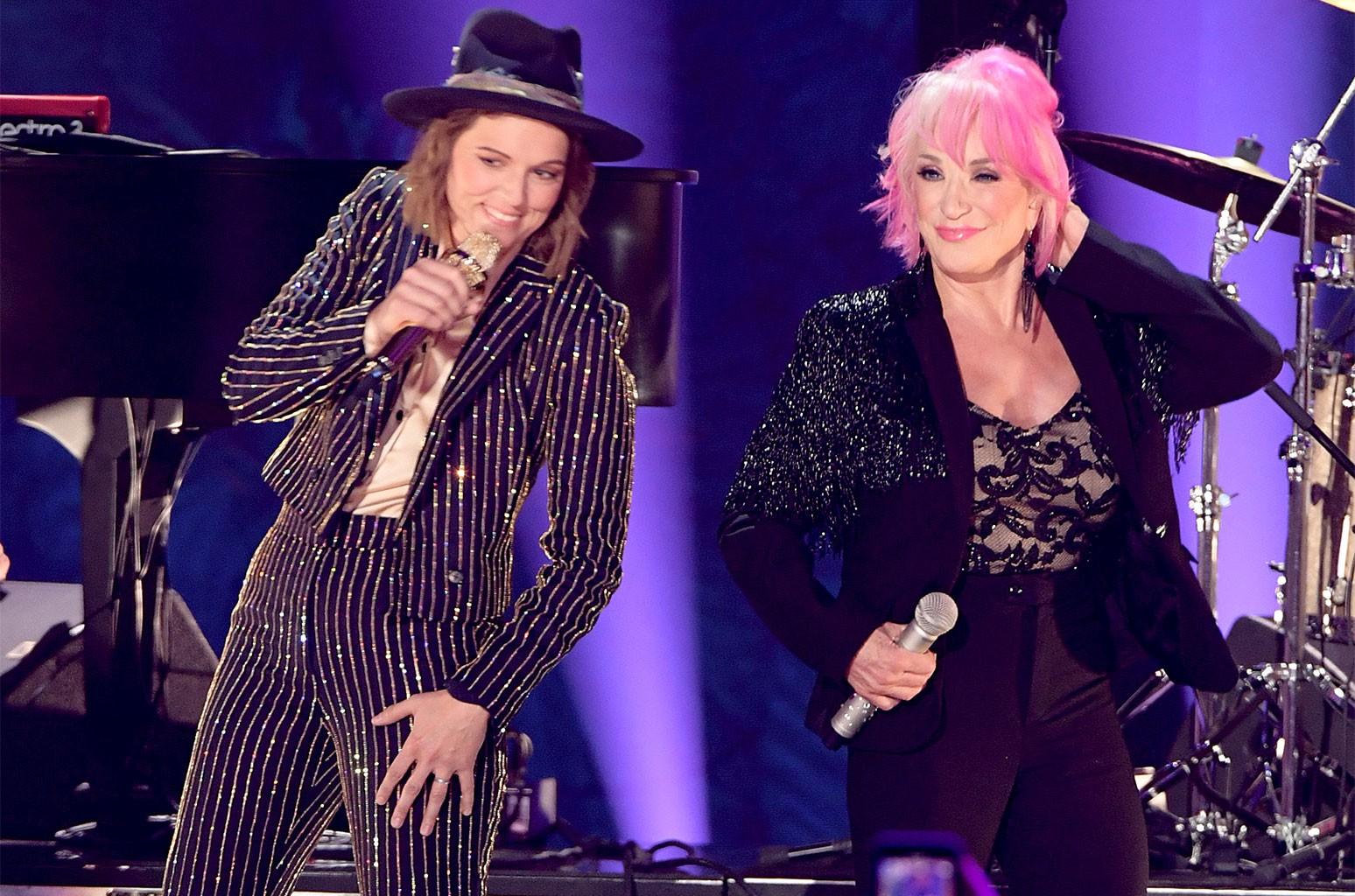 Brandi Carlile and Tanya Tucker perform at the 2019 CMT Music Awards at Bridgestone Arena on June 5, 2019 in Nashville.