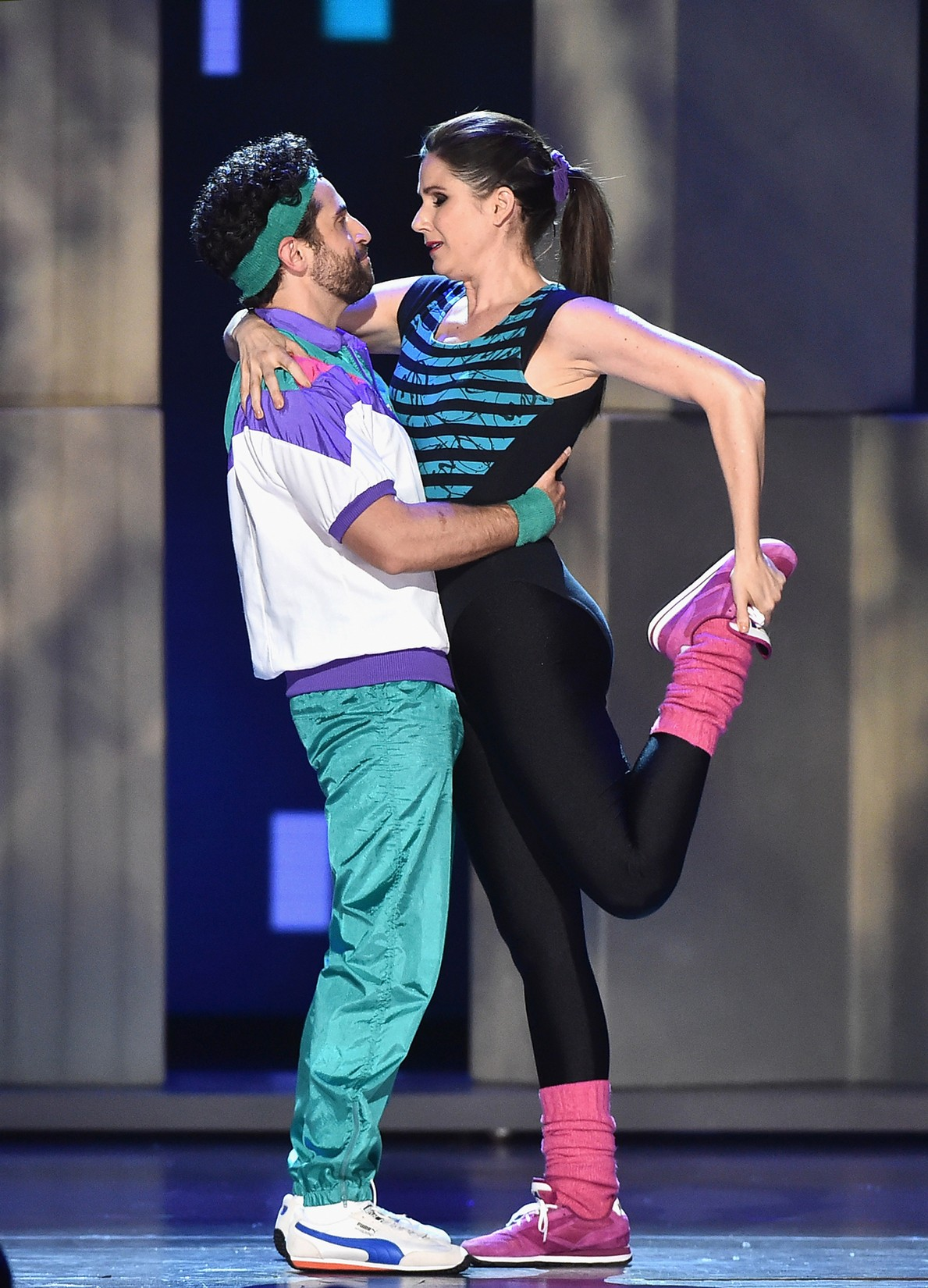 "Brandon Uranowitz and Stephanie J. Block perform with the cast of ""Falsettos"" onstage during the 2017 Tony Awards at Radio City Music Hall on June 11, 2017 in New York City."