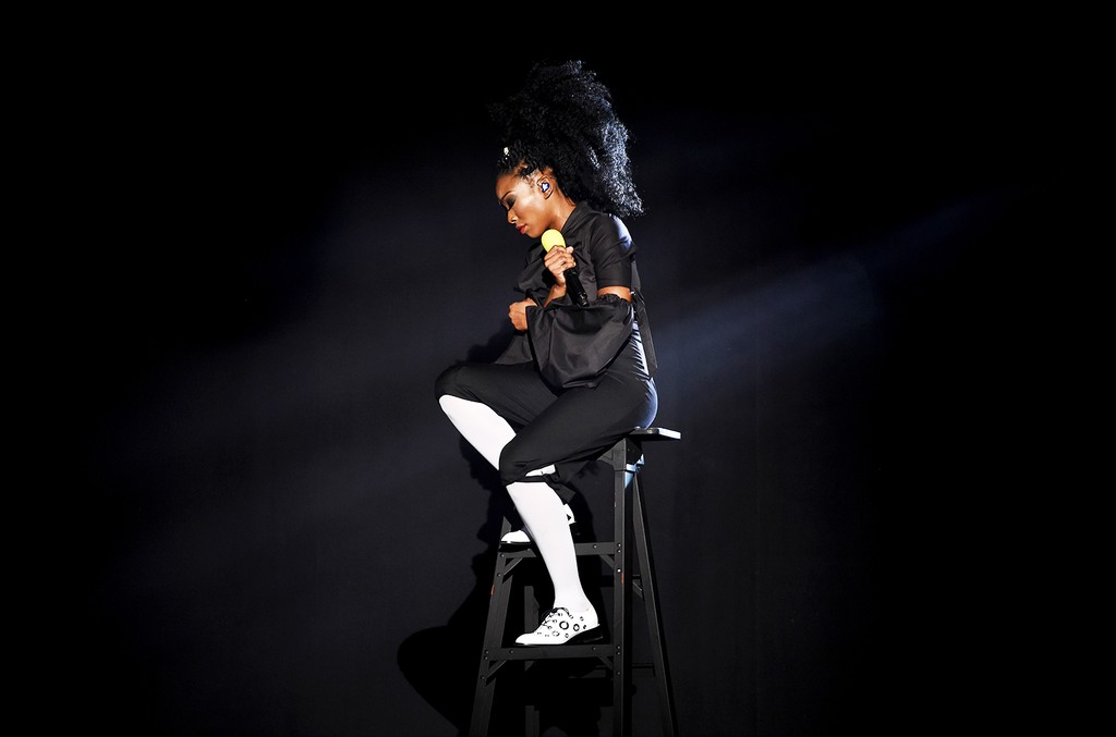 Brandy performs onstage during the 2016 Soul Train Music Awards at the Orleans Arena on Nov. 6, 2016 in Las Vegas.