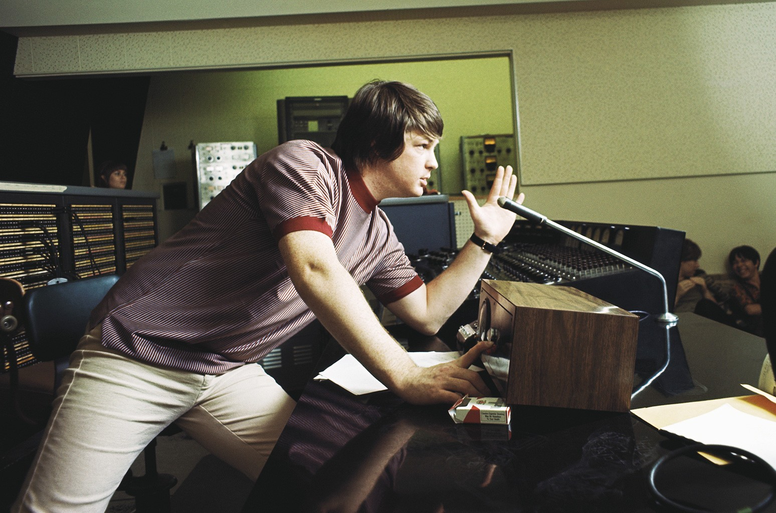 "Brian Wilson of The Beach Boys directs from the control room while recording the album ""Pet Sounds"" in 1966 in Los Angeles."