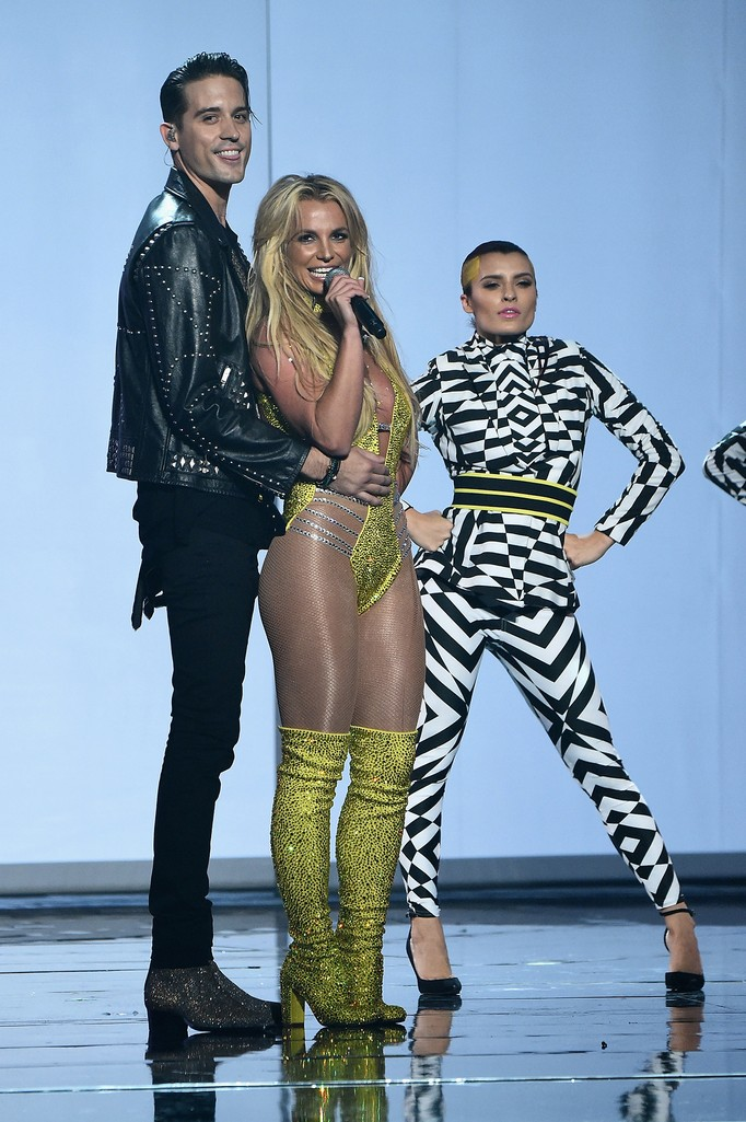 Britney Spears and G Eazy perform onstage during the 2016 MTV Video Music Awards