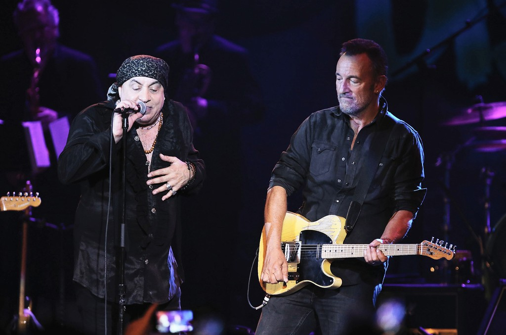 Bruce Springsteen joins his bandmate Steven Van Zandt when Little Steven and The Disciples of Soul perform during the 2017 Asbury Park Music and FIlm Festival at THe Paramount Theatre on April 22, 2017 in Asbury Park, New Jersey.