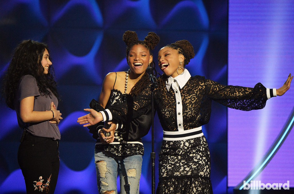 Alessia Cara and Chloe X Halle speak onstage during the Billboard Women in Music 2016 event on Dec. 9, 2016 in New York City.