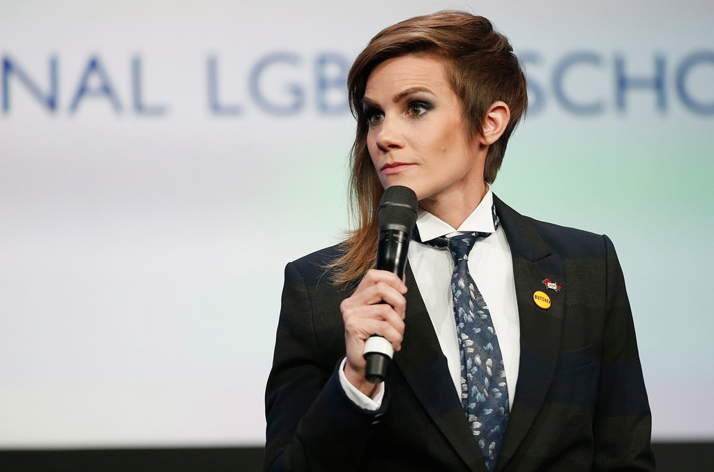 Cameron Esposito speaks onstage at Point Foundation's Point Honors gala at The Beverly Hilton Hotel on October 1, 2016 in Beverly Hills, California.