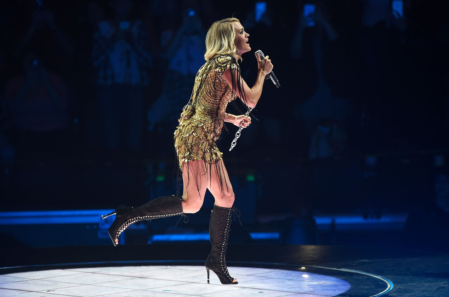 Carrie Underwood performs inside the Mohegan Sun Arena as part of the property's month-long 20th Anniversary celebration on Oct. 28, 2016, in Uncasville, CT.