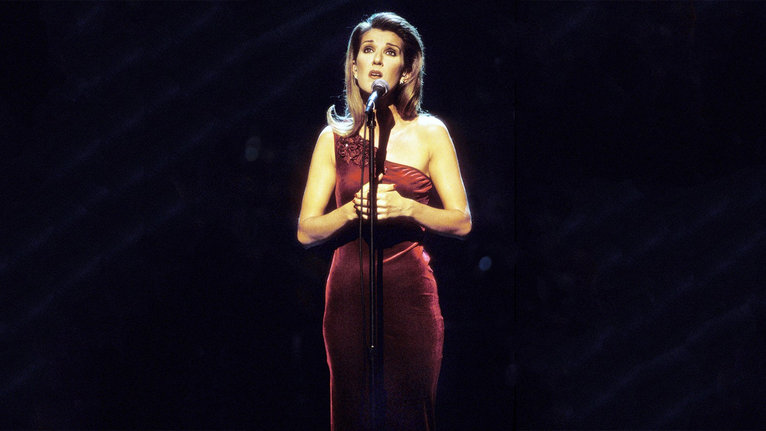 Celine Dion performs on 'A Gift of Song' in New York City in 1997.