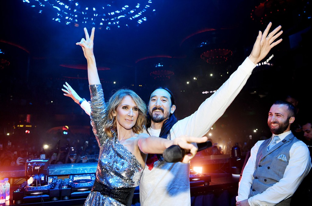 """Steve Aoki surprises guests by bringing out Celine Dion during his set at OMNIA Nightclub's Benefit Concert to perform """"My Heart Will Go On."""""""