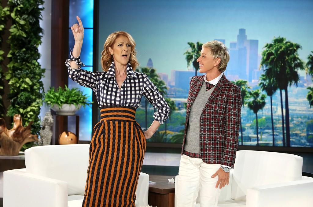 Celine Dion makes an appearance on The Ellen DeGeneres Show on Sept. 12, 2016.