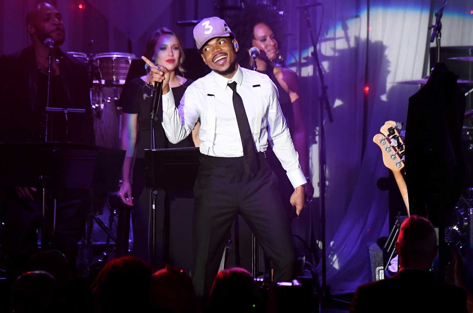 Chance the Rapper performs onstage during the 2017 Pre-Grammy Gala And Salute to Industry Icons Honoring Debra Lee at The Beverly Hilton Hotel on Feb. 11, 2017 in Beverly Hills, Calif.